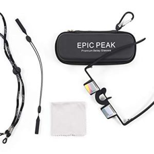 Epic Peak Belaying Glasses - Lightweight Premium Belay Goggles with Decal - Vertical Vision Rock Climbing Essentials to Prevent Belayer's Neck - 2 Adjustable Straps, Cloth, Eyewear Case and Carabiner