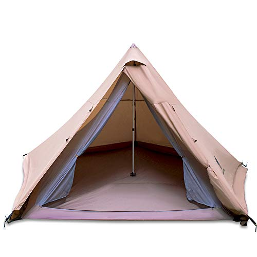 GEERTOP Teepee Camping Tent 4-6 Person Double Layer Family Tents for Outdoor Hiking Travel - One Pole Easy Set Up Tent