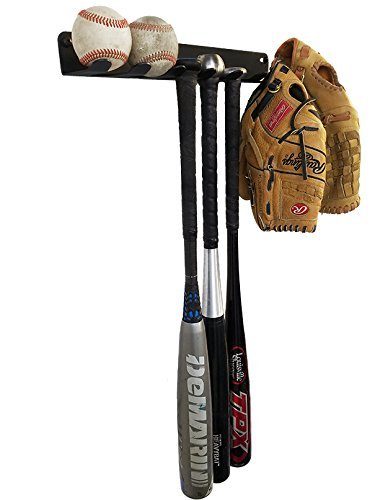 ALPHA BAT RACK (HOLDS 7 BATS) Fence & Wall Mounted STEEL Baseball / Softball Bat Rack / Bat Hooks for Fences and Concrete- Heavy Duty Rack for Baseball Storage and Organization (HARDWARE INCLUDED)