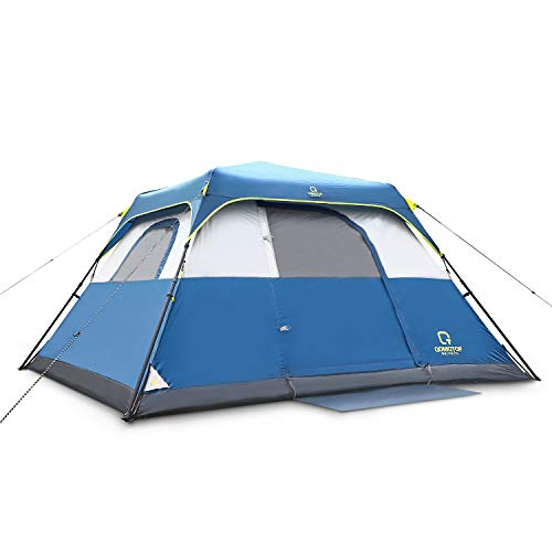 QOMOTOP Camping Tents, 4/6/8/10 People Instant Set Up Within 1 Minute Tent Equipped with Rainfly and Carry Bag, Water-Proof Pop up Tent with Electric Cord Acess, Light Weight Cabin Style Tent