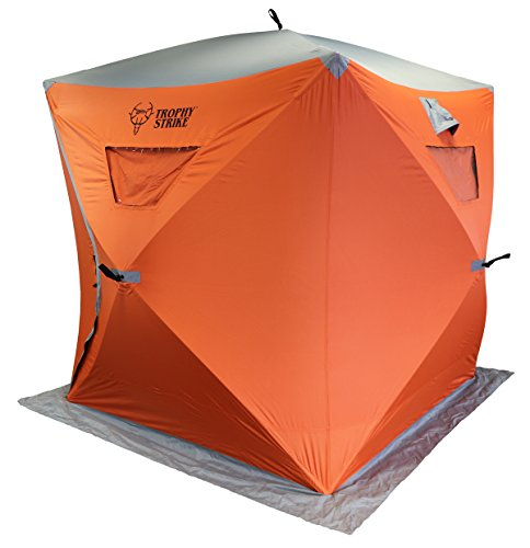 Trophy Strike Ice Shelter - Three Person, Durable, Flame Retardant Shell with Windows