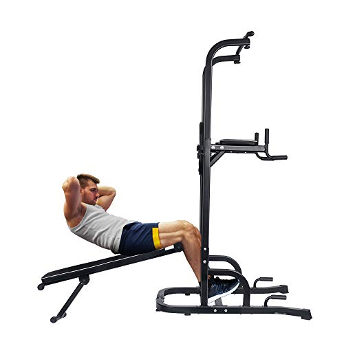 ONETWOFIT Multi-Function Power Tower with Sit Up Bench,Adjustable Height Pull Up Tower Heavy Duty Dip Station Fitness Equipment for Home Gym Supports to 330 Lbs OT127