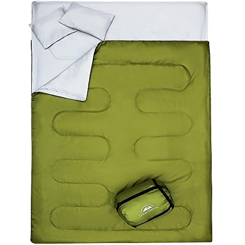 DreamGenius DoubleSleeping Bag for Camping Waterproof Sleeping Bags for Adults with 2 Pillows