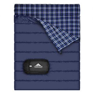Cotton Flannel Double Sleeping Bag For Camping, Backpacking , Or Hiking. Queen Size 2 Person Waterproof Sleeping Bag For Adults Or Teens. Truck, Tent, Or Sleeping Pad, Lightweight(Pillows NOT include)