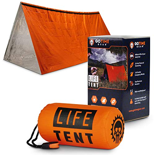 Go Time Gear Life Tent Emergency Survival Shelter - 2 Person Emergency Tent - Use As Survival Tent, Emergency Shelter, Tube Tent, Survival Tarp - Includes Survival Whistle & Paracord