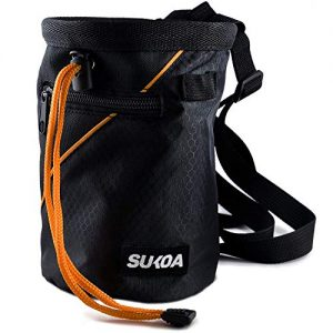 Sukoa Chalk Bag for Rock Climbing - Bouldering Chalk Bag Bucket with Quick-Clip Belt and 2 Large Zippered Pockets - Rock Climbing Gear Equipment