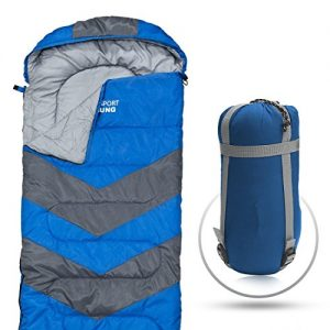 Abco Tech Sleeping Bag - Envelope Lightweight Portable, Waterproof, Comfort with Compression Sack - Great for 4 Season Traveling, Camping, Hiking, Outdoor Activities & Boys. (Single)