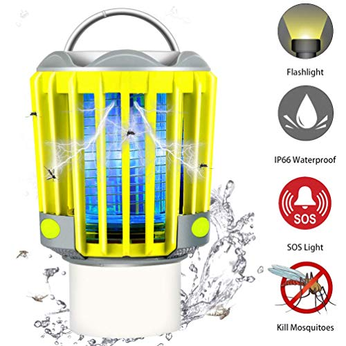 RUNACC Bug Zapper Camping Lantern LED Flashlight Bug Zapper - Portable IP66 Waterproof Outdoor Tent Light Camp Lamp with 2000mAh Rechargeable Battery, SOS Emergency Warning Lighting
