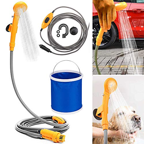Winning Outdoor Camping Shower Handheld Showers with Water Pump Plug and Folding Bucket into 12v Cigarette Adapter for Travel Camping Hiking Garden Pet