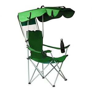 unhg Camp Chairs with Shade Canopy Chair Folding Camping Recliner Support 380 LBS, with Two Cup Holders and Carry Bag, for Outdoor Beach Camp Park Patio
