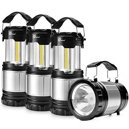Odoland COB 4 Packs LED Lanterns, 300 Lumen LED Camping Lantern Handheld Flashlights, Camping Gear Equipment, Survival Kit for Emergency, Outdoor Hiking, Camping Supplies, Hurricanes, Outages