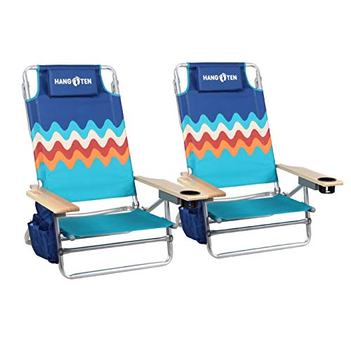 Beach Chairs Folding Lightweight (2-Pack) Backpack Camping Chair Folding 5-Position Layflat Portable Arm Chairs with Towel Bar, Supports 250 LBS
