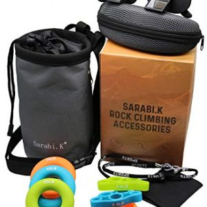 Sarabi.K Rock Climbing Accessories Set: 6pc Hand Grip Strengthener Set + Climbing Chalk Bag with Drawstring + Belay Glasses with Neck String, Cleaning Cloth and Case