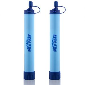 Wild Peak Stay Alive-1 Outdoor 4-Stage 4000 Liter Water Filter Emergency Straw with Activated Carbon for Survival, Camping, Hiking, Climbing, Backpacking (2-Pack)