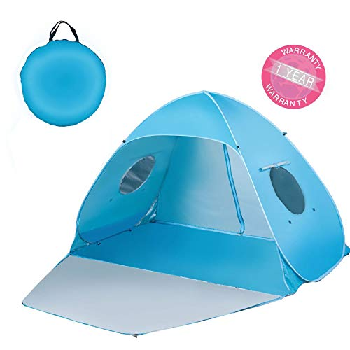 """Extra Large Beach Tent Sun Shade Shelter Pop Up Instant Portable Outdoors 3-4 Person Beach Cabana Sets Up in Seconds, Blue, 78.7"""" L X 47.2"""" W X 51.2"""" H"""