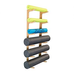 Ultra Fitness Gear Foam Roller and Yoga Mat Rack, Storage Shelf, Bamboo Construction, Mounting Hardware Included
