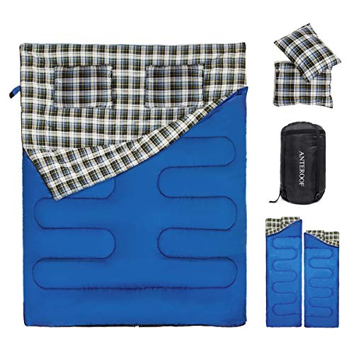 Double Sleeping Bag 2 Person Sleeping Bags with 2 Pillows Adults Teens Portable Lightweight XL Camping Sleeping Bag for Camping Backpacking Hiking Outdoor, 2020 Upgraded