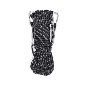 Static Reflective Outdoor Rock Climbing Rope with Carabiner(s), Tree Climbing Gear for Outdoor Activities, 10mm Heavy Duty Mountain Equipment & 30m(98 ft) Emergency Fire Safety Braided Ropes