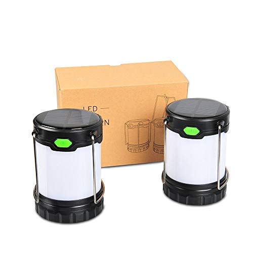 Zoojee Studio 1 Pack/2 Pack/4 Pack LED Camping Lantern-Solar/USB Rechargeable Camping Lamp/Battery Powered Camping Tent Lights-Hurricane Lantern, Emergency lamp, Outage Lantern