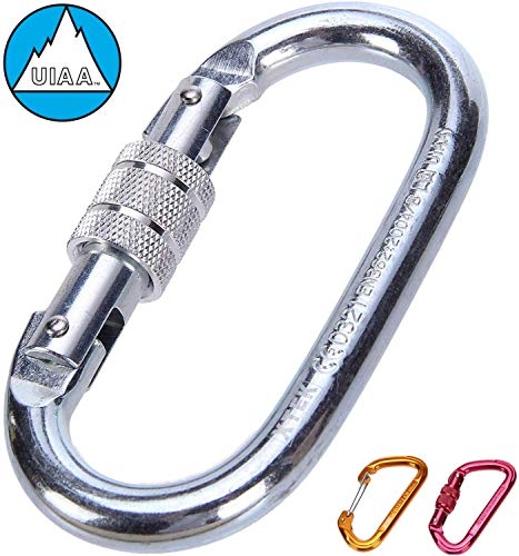 Climbing Carabiner - UIAA & CE Rated Carabiner Clip | Heavy Duty Locking Carabiner for Climbing, Rigging, Ropes, Hammocks, Camping