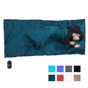 """Browint Silk Sleeping Bag Liner, Silk Sleep Sheet, Sack, Extra Wide 87""""x43"""", Lightweight Travel and Camping Sheet for Hotel, More Colors for Option, Reinforced Gussets, Pillow Pocket"""