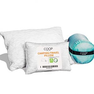 Coop Home Goods - Adjustable Travel and Camping Pillow - Hypoallergenic Shredded Memory Foam Fill - Lulltra Washable Cover - Includes Compressible Stuff Sack - CertiPUR-US/GREENGUARD Gold Certified