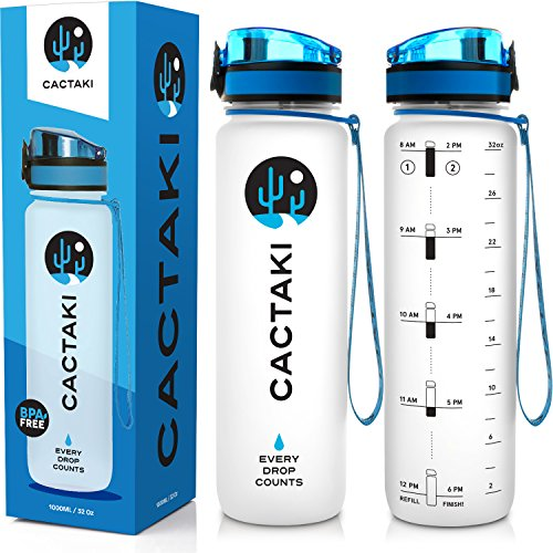 Cactaki 32oz Water Bottle with Time Marker, BPA Free Water Bottle, Non-Toxic, Leakproof, Durable, for Fitness and Outdoor Enthusiasts