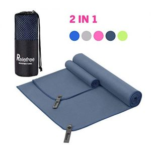 Relefree Microfiber Towel, Sports & Travel Towel - Fast Drying, Super Ultra Absorbent, and Compact Suitable for Camping, Beach, Gym, Swimming, Backpacking, Yoga, Set of 2