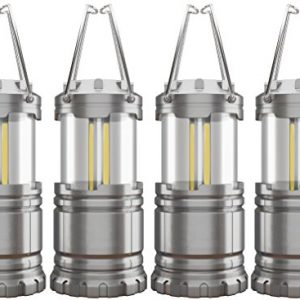 4 Pack COB Camping Lantern, Portable High Lumen Outdoor Camping Flashlight Torch Light, Bright Survival Equipment Gear Kit for Emergency, Hiking, Tent, Backpacking, Outages, Hurricanes, Storms (Grey)