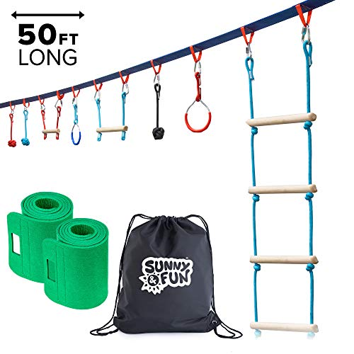 Sunny & Fun Portable 50 Foot Ninja Slackline Monkey Bar & Ladder Kit - Kids Gym Swinging Obstacle Course Set - Warrior Training Bars, Fists, Gymnastics Rings - Carry Bag & Tree Protectors