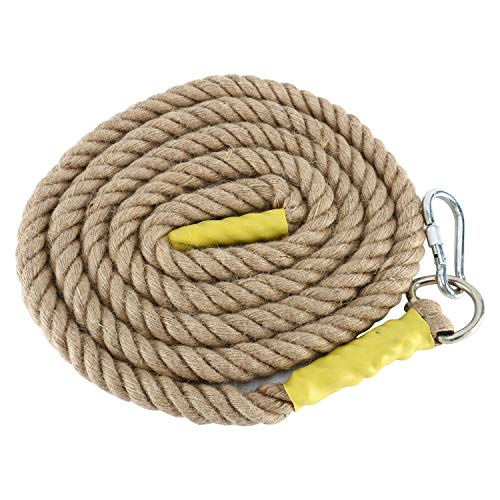 YAETEK Heavy Duty 10/13 Feet Gym Climbing Ropes with Carabiner for Adult Improve Grip and Increase Power (10, 1.2 INCH)