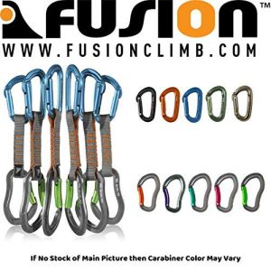 Fusion Climb 6-Pack 11cm Quickdraw Set with Contigua Blue Straight Gate Carabiner/Techno Zoom Apple Green Bent Gate Carabiner