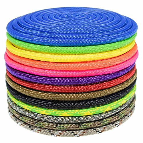 PARACORD PLANET Nylon Paramax 8mm 5/16 Inch Utility Paracord - 6 Lengths and 20 Colors
