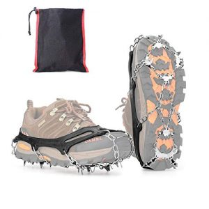 Tenei Crampons Microspikes Traction Cleats Ice Snow Grips Ice Cleats with 19 Spikes for Walking, Jogging, Climbing and Hiking on Snow, Ice, Mud, Sand and Wet Grass