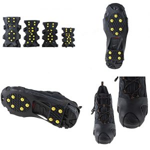 AGPTEK Non-Slip Over Shoe, Climbing Snow Ice Cleats Grips Anti-Slip Studded Ice Traction Shoe Covers Spike Crampons Cleats Size S/M/L/XL