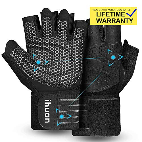 Updated 2020 Version Professional Ventilated Weight Lifting Gym Workout Gloves with Wrist Wrap Support for Men & Women, Full Palm Protection, for Weightlifting, Training, Fitness, Hanging, Pull ups