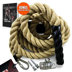 Easy-Install Manila Hemp Gym Climbing Rope w/ Bracket & Carabiner for Indoor & Outdoor Crossfit Exercise, Home Training and Fitness Workouts (1.5 in Thickness & 15/20/25 ft Length Available)