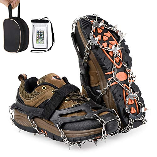 Qerhod Traction Cleats,Ice Snow Grips, Anti Slip Crampons 18 Tooth Stainless Steel,Suitable for Winter Jogging,Hiking, Climbing,Other Outdoor Events-Includes Carry Bag