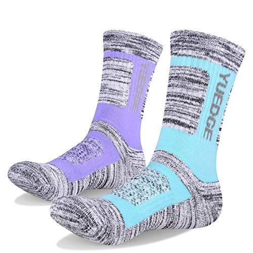 YUEDGE Women's Cushion Cotton Crew Socks Multi Performance Athletic Hiking Socks(2 Pairs/Pack)