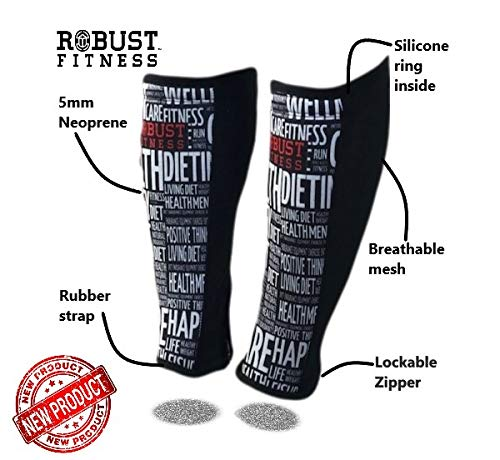 ROBUST FITNESS Shin Guards, 1 Pair, Protection & Compression, Quick to Dry, 5mm Neoprene Front, Breathable Back