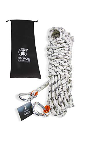 NexSport Outdoors 10mm Diameter Static Rock Climbing Rope, Safety Rescue Fire Escape Rappelling Rope, with Carabiner