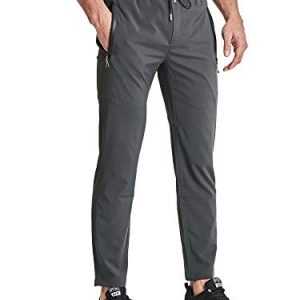BIYLACLESEN Men's Athletic Running Sweatpants Lightweight Quick Dry Jogger Yoga Pants Zipper Pockets