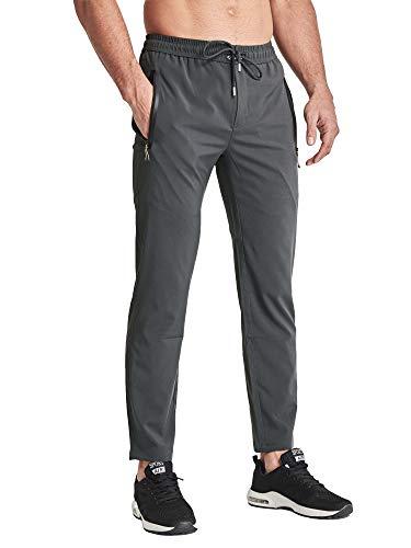 BIYLACLESEN Men's Athletic Running Sweatpants Lightweight Quick Dry Jogger Yoga Pants Zipper Pockets