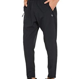 BALEAF Men's Woven Tapered Running Pants Lightweight Sun Protection UPF 50+ Zipper Pockets