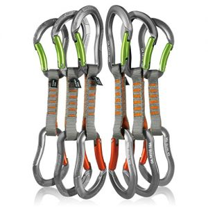 Fusion Climb 6-Pack 11cm Quickdraw Set with Techno Zoom Apple Green Bent Gate Carabiner/Techno Zoom Orange Bent Gate Carabiner