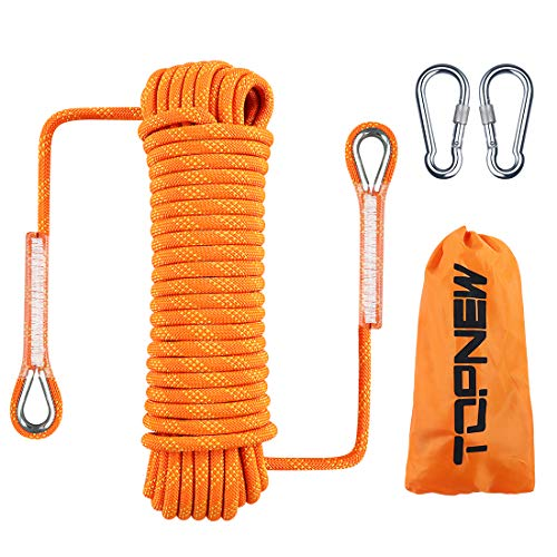 TOPNEW Outdoor Climbing Rope 10 MM Diameter, 10M(32ft) 20M(64ft), Escape Rope Fire Rescue Parachute Rope Climbing Equipment Rock Climbing Rope, Nylon