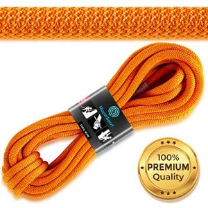 Powerful Static Rock Climbing Rope - High Strength Nylon Static Climbing Rope - Rock & Mountaineering Climbing Gear - 10.5mm Rescue Rope - Heavy Duty Rope - 10m Hiking Rope - Orange Safety Rope