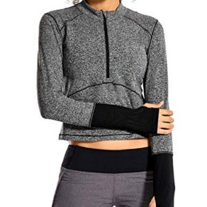 CRZ YOGA Women's Running Shirt Long Sleeve Shirt Dry Fit Half-Zip Workout Tops Crop Athletic