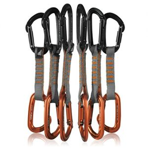 Fusion Climb 6-Pack 11cm Quickdraw Set with Contigua Black Straight Gate Carabiner