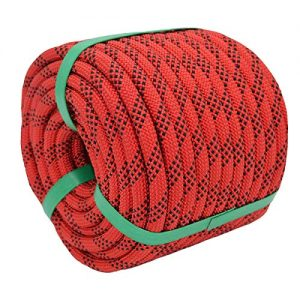 YUZENET Static Rock Climbing Rope 2/5 Inch 50 Feet Outdoor Safety Fire Escape Rope Rappelling Rope, Red/Black